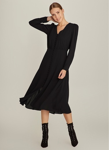 Ng Style Önden Düğmeli Midi Elbise Siyah